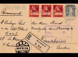 Schweiz: 1920: Ganzsache Einschreiben Neuchatel nach Mannheim