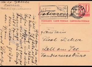 Schweiz: 1946: Zürich nach Zell am See, Werbung Luftpost