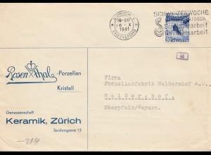 Schweiz: 1941: Zürich nach Waldershof, Porzellanfabrik, OKW Zensur