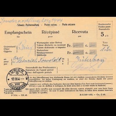 Schweiz: 1944: Empfangschein Sonderpostflug Jüterborg-Zürich