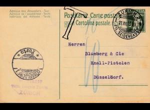 Schweiz: 1913: Ganzsache Zürich nach Düsseldorf, Nachtaxe