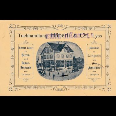 Schweiz: Besuchsanzeige 1908 Lyss, Tuchhandlung