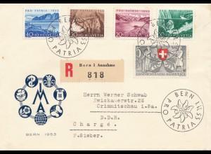 Schweiz: 1953: Einschreiben Bern pro Patria FDC