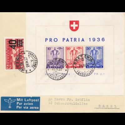 Schweiz: 1936: Pro Patria Bretewil nach Basel, Block 2