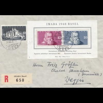 Schweiz: 1948: Imaba 1948 Basel, als Einschreiben nach Weggis, Block 13