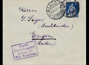 Schweiz: 1915: Basel nach Engen, Geprüft Zensur