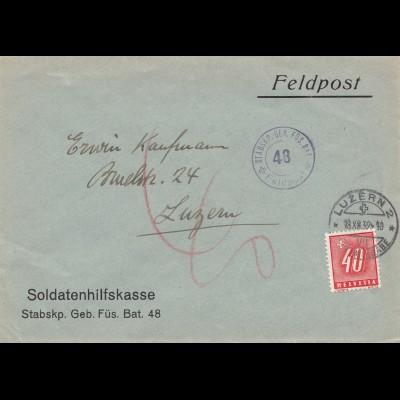 Schweiz: 1939: Feldpost Soldatenhilfskasse nach Luzern