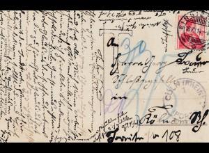 Schweiz: 1914: Ansichtskarte Einsiedeln nach Köln, Nachtaxe