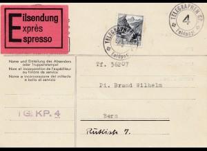 Schweiz: 1940: Eilsendung Telegraphen KP. Feldpost nach Bern
