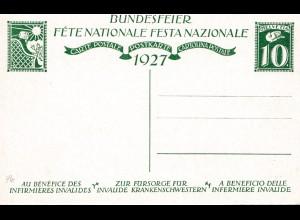 Schweiz: 1927: Ganzsache Bundesfeier
