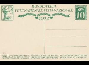 Schweiz: 1924: Ganzsache Bundesfeier