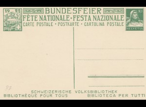 Schweiz: 1922: Ganzsache Bundesfeier