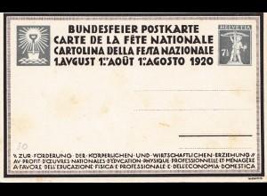 Schweiz: 1920: Ganzsache Bundesfeier