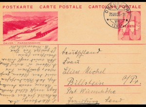 Schweiz: 1935: Ganzsache Oberäger nach Billstein