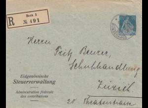 Schweiz: 1921: Einschreiben Steuerverwaltung Bern nach Zürich