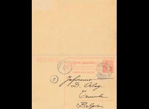 Schweiz: 1903: Ganzsache Lugano nach Tamise/Belgien (Frage/Antwort)
