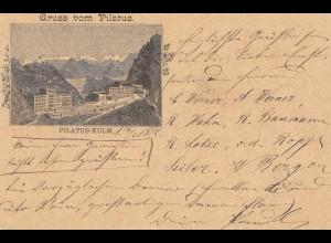 Schweiz: 1902: Ganzsache-Gruss vom Pilarus - Alpnach nach Leipzig