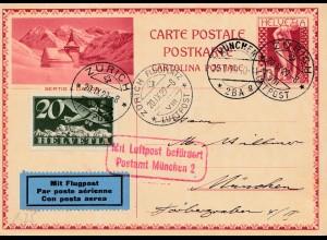 Schweiz: 1929: Ganzsache Lufpost Zürich-München