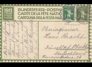 Schweiz: 1911: Ganzsache Bundesfeier
