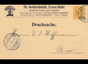 Schweiz: 1908: Drucksache Ganzsache Bendlikon nach Thun