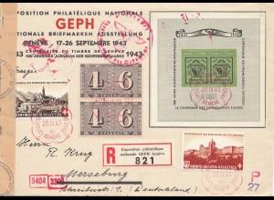 Schweiz: 1943: Internat. Briefmarken Ausstellung als Einschreiben nach Merseburg