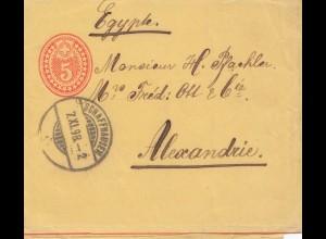 Schweiz: 1898: Ganzsache Streifband Schaffhausen nach Alexandria