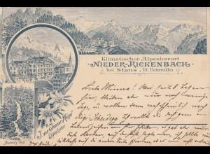 Schweiz: 1897: Ansichtskarte Nieder Rickenbach
