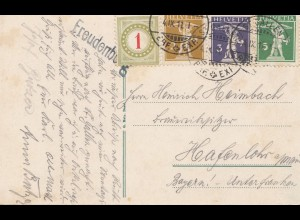 Schweiz: 1911: Ansichtskarte Freudenberg Porto als Freimarke verwendet