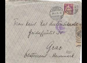 Schweiz: 1915: Brief aus Basel nach nach Graz. Zensur