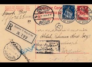 Schweiz: 1915: Ganzsache Einschreiben Genf nach Konstantinopel