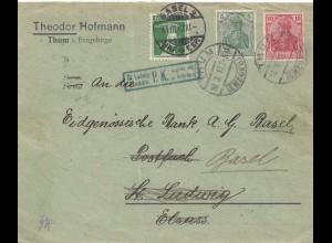 Schweiz: 1917: Thum ins Elsass und weiter nach Basel