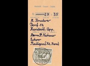 Schweiz: 1953: Hundwill, Einzahlungsabschnitt nach Reutlingen
