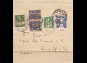 Schweiz: 1927: Streifband Neuchatel nach Meinersdorf
