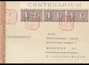 Schweiz: 1943: Zürich Centenarium nach Leipzig, Zensur