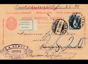 Schweiz:1901 Ganzsache von Genf als Nachnahme Marly le Grand, Annahme verweigert