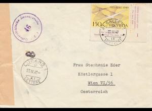 Schweiz:1949: Lugano nach Wien, Zensur