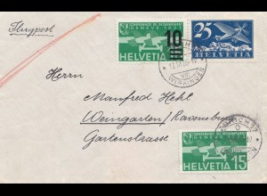 Schweiz:1935: Zürich als Flugpost nach Weingarten