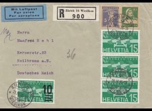 Schweiz:1936: Einschreiben Flugpost von Zürich nach Heilbronn