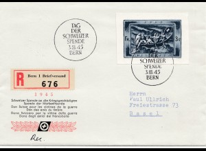 Schweiz: 1945 Einschreiben: Tag der Spende für Kriegsgeschädigte