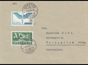 1938: Kempten/Zürich nach Weingarten