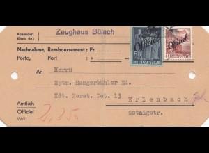 Schweiz: Zeughaus Bülach als Nachnahme nach Erlenbach
