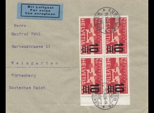 Schweiz: 1936: Zürich als Luftpost nach Weingarten