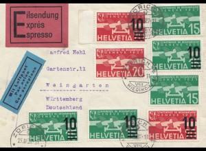 Schweiz: 1937: Eilsendung, Luftpost Zürich nach Weingarten