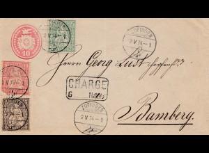 Schweiz: 1874: Zofingen nach Bamberg, Mängel