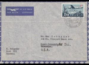 Schweiz: 1947: Genf/Biel nach USA, Luftpost Swissäir