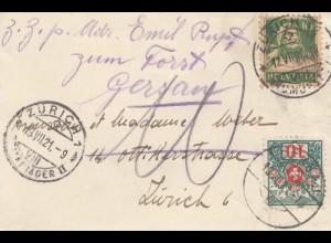 Schweiz: 1921: Brief innerhalb von Zürich