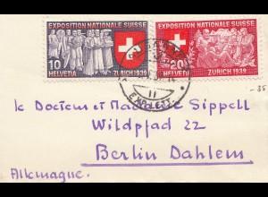Schweiz: 1939: kleiner Brief aus Lausanne nach Berlin