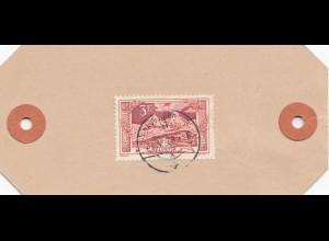 Schweiz: 1923: Paketanhänger Bestellgebühr bezahlt von Davos nach Tiefencastel