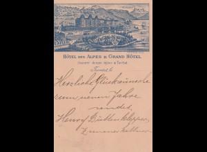 Schweiz: 1896: Territet Ansichtskarte nach Aachen