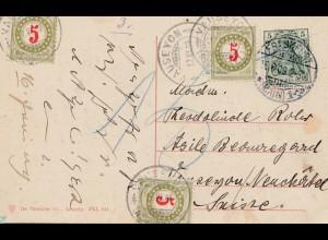 Schweiz: 1909: AK Frankfurt/M nach Vauseyon mit Nachporto